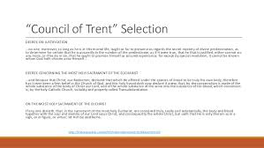 Council Of Trent Decree On The Eucharist The Reformation Lecture 3 Catholic Reformation