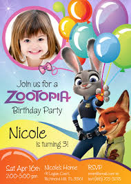 Birthday Invitation Cards For Friends Zootopia Birthday Invitation Customize It With Your Daughter