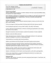sample substitute teacher job description 8 examples in pdf word