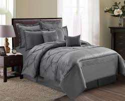 Grey Comforter Sets King Piece Aubree Pinched Pleat Gray Comforter Set