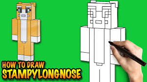 draw stampylongnose minecraft easy step step drawing