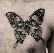 skull butterfly tattoos tatt and