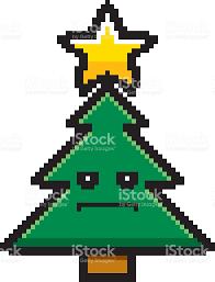 serious 8bit cartoon christmas tree stock vector art 508023858