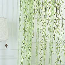Green Bathroom Window Curtains Amazon Com Edal Willow Tulle Voile Door Window Curtain Drape