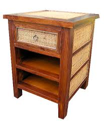 Rattan Side Table Bamboo Teak