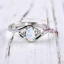 opal wedding ring white opal ring silver opal ring womens dainty opal wedding