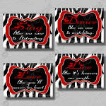RED Zebra Print Dance Sing Live Love Quote Art by collagebycollins