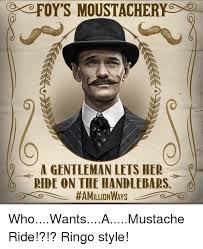 Handlebar Mustache Meme - foy s moustacherygd a gentleman lets her ride on the handlebars