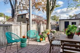 look at this sweet little detached house in toronto with backyard