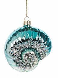 blue jeweled nautilus shell ornament coastal