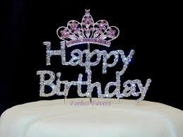 crown cake toppers silver rhinestone happy birthday with pink rhinestone princess