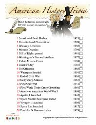 american history trivia printable veterans day printable