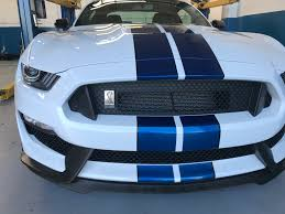 white mustang blue stripes 2017 white blue stripes black roof