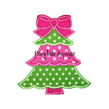 digital machine embroidery design girly christmas tree