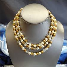 white gold bead necklace images Pearl necklace white n gold w crystals 3 strands vintage 1950s jewelry jpg