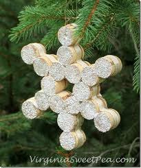 snowflake wine cork ornament sweet pea