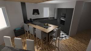 cuisine et grise cuisine moderne gris anthracite mat et bois massif