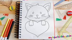 how to draw cute kittens with love hearts easy step by step