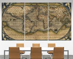 Canvas Map Of The World by Large Vintage Wall Art Old World Map At Texelprintart Com