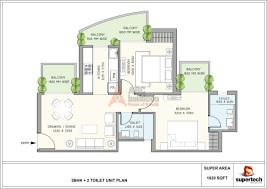 2bhk floor plan supertech azaliya floor plan 3 bhk u2013 1225 sq ft archives