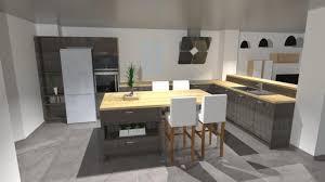 ilot repas cuisine grande cuisine en bois avec îlot espace repas pour 4 personnes et