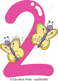 2 clip art vector of number two and 2 butterflies cartoon