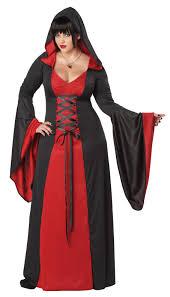 plus regular deluxe hooded robe red purple black halloween costume