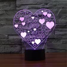 funplaza 3d led night light foam i love u heart bubble 7 colors