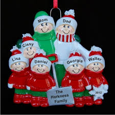 snow shovel family of 7 personalized ornaments by