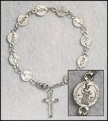 rosary bracelet cb silver plate catholic st benedict exorcism medal
