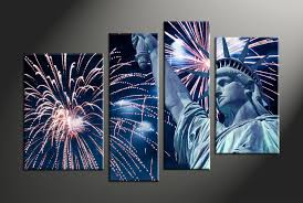 4 piece blue canvas statue of liberty fireworks city artwork