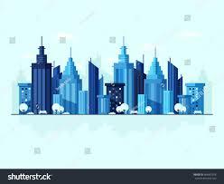 Modern City Modern City Background Blue Skyscrapers Flat Stock Vector