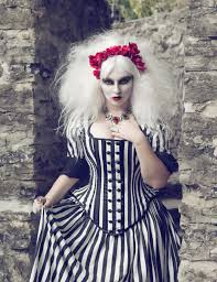 Black Wedding Dress Halloween Costume Tim Burton Wedding Gown Black White Stripe Victorian Steampunk