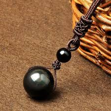 black natural stone necklace images Natural black obsidian rainbow eye stone jpg