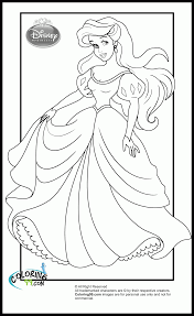 disney princess coloring pages ariel dress kids coloring