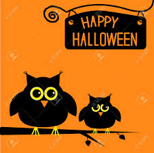 happy halloween cute owls card illustration royalty free cliparts