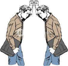 sketch of man takes a look at himself in the mirror vector