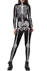 womens skeleton jumpsuit amazon com selowin womens skeleton print costume