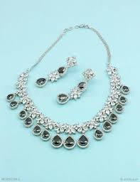 diamond sets images buy beautiful black cz ad american diamond necklace set online