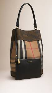 burberry house check and camouflage print bucket bag in green lyst