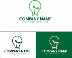 eco logo sets leaf and light bulb design vectors stock in format