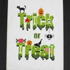 trick or treat modern halloween cross stitch pattern by