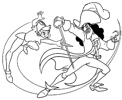 peter pan and captain hook coloring pages at glum me