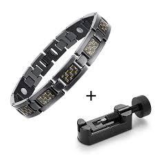titanium magnetic bracelet black images Bio energy healing titanium magnetic bracelet trendysweety jpg