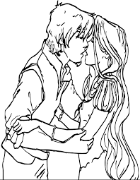 flynn and rapunzel kiss coloring page wecoloringpage