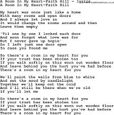Potato Flew Room Love Song Lyrics Room Heart Faith Hill