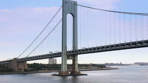 New York travelers stock images Traveling under the verrazano narrows bridge in new york harbor jpg