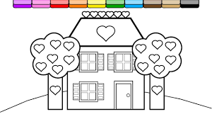coloring purple brick house and heart trees coloring page for