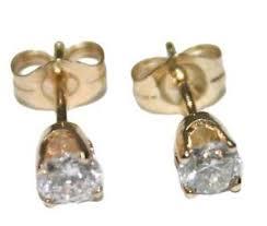 post style earrings 14k yellow gold diamond stud post style earrings ebay