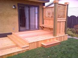 Decks With Benches Built In Custom Cedar Deck With Privacy Screen And Built In Bench